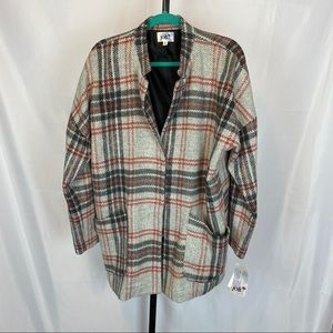 Jolt Plaid Snap Button Front Coat, size XL NWT
